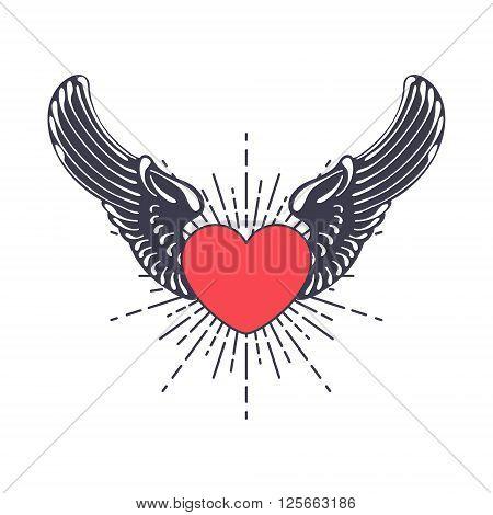 heart angel isolated on white vector illustration