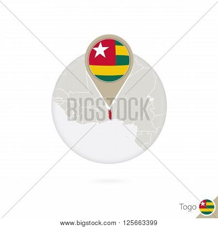 Togo Map And Flag In Circle. Map Of Togo, Togo Flag Pin. Map Of Togo In The Style Of The Globe.