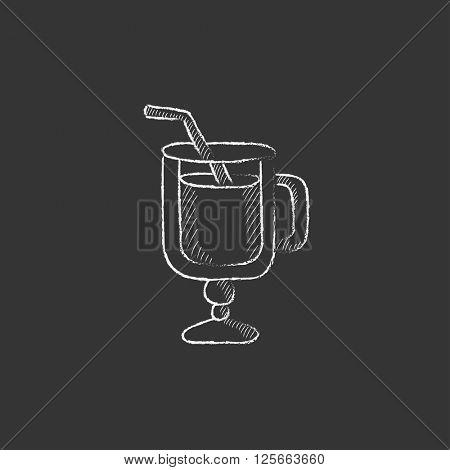 Glass with drinking straw. Drawn in chalk icon.