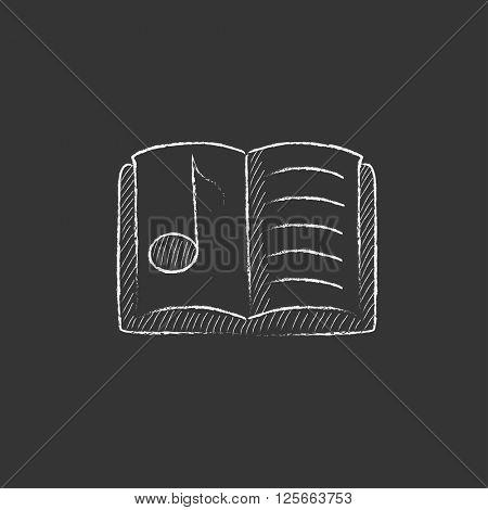 Music book. Drawn in chalk icon.