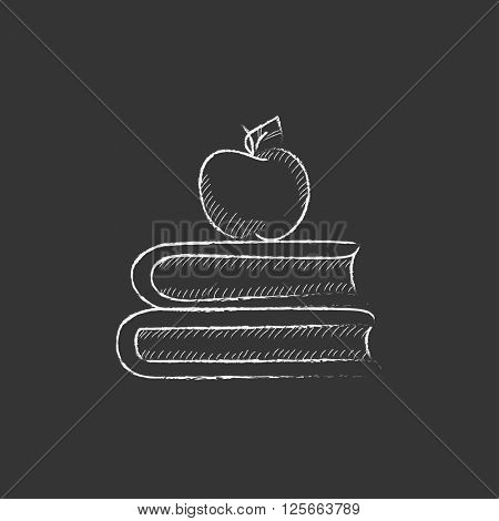 Books and apple on top. Drawn in chalk icon.