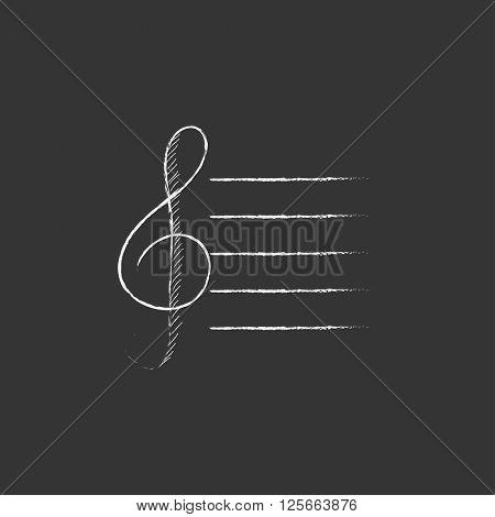Treble clef. Drawn in chalk icon.