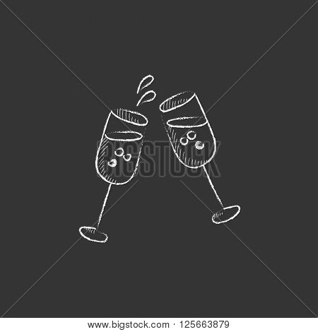 Two glasses of champaign. Drawn in chalk icon.