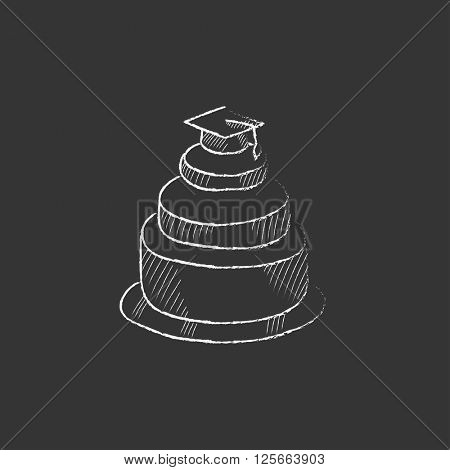 Graduation cap on top of cake. Drawn in chalk icon.