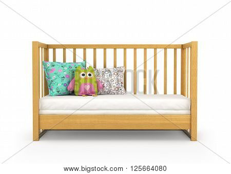 baby crib isolated on a white background. 3D Illustration .