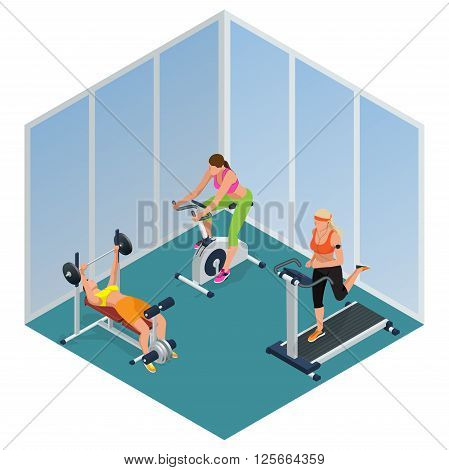 Fitness woman working out on exercise bike, Young woman with barbell flexing muscles,  Pretty girl working out in a treadmill at the gym. Flat 3d isometric vector illustration