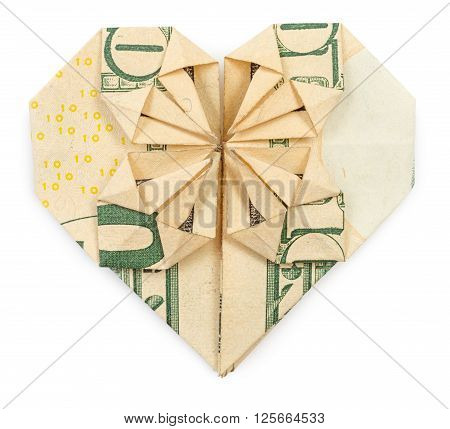 Ten dollars origami heart and star isolated on white background. Stock image.