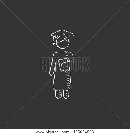 Graduate. Drawn in chalk icon.