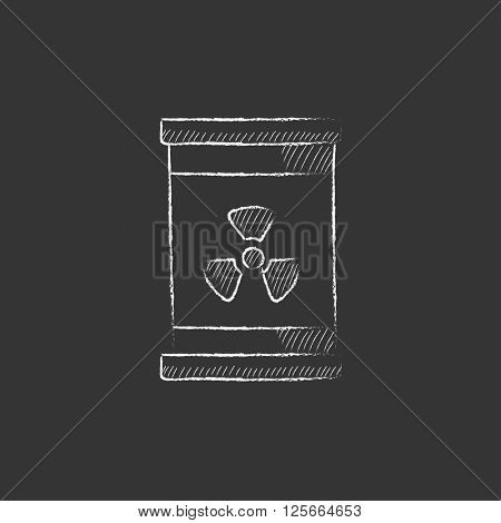 Barrel with ionizing radiation sign. Drawn in chalk icon.