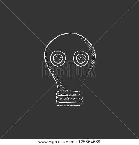 Gas mask. Drawn in chalk icon.