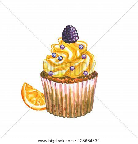 Watercolor cupcake. Watercolor berry cupcake. Hand drawn Watercolor cupcake with decoration cream and berry. Sweet tasty food illustration