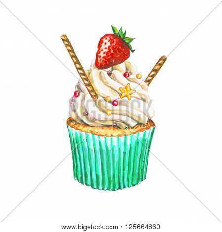 Watercolor cupcake. Watercolor strawberry cupcake. Hand drawn Watercolor cupcake with decoration cream and berry. Sweet tasty food illustration