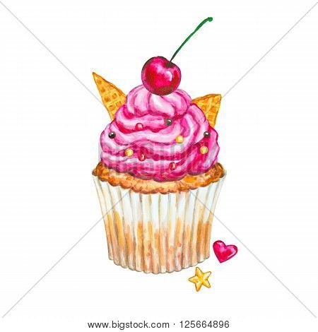 Watercolor cupcake. Watercolor cherry cupcake. Hand drawn Watercolor cupcake with decoration cream and cherry. Sweet tasty food illustration