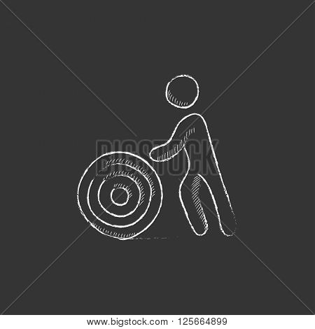 Man with wire spool. Drawn in chalk icon.