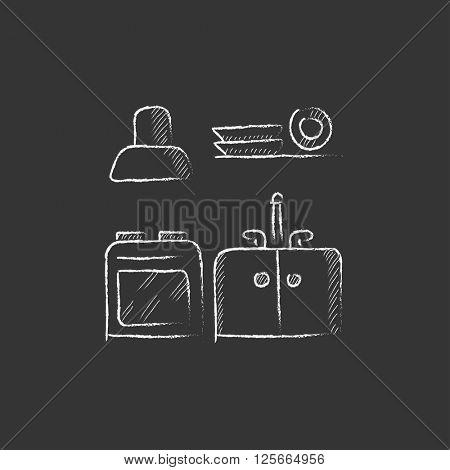 Kitchen interior. Drawn in chalk icon.