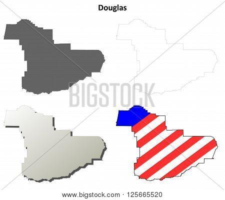 Douglas County, Oregon blank outline map set