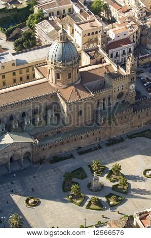 Palermo, Sicily island in Italy. Famous cathedral church. Abstract aereal view