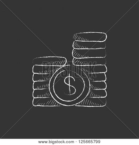 Dollar coins. Drawn in chalk icon.