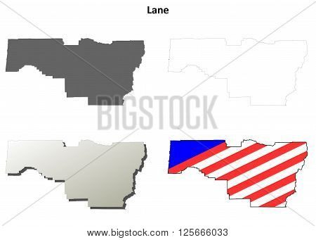 Lane County, Oregon blank outline map set