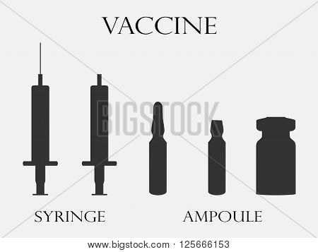 Syringe And Vials. Syringe And Ampules. Vaccine. Set Icons In Line Style. Vector.