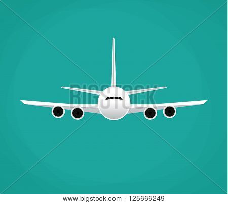 Civil aviation travel passenger air plane vector illustration. Civil commercial airplane flying. Travel plane isolated on background. Cargo transportation airplane vector isolated