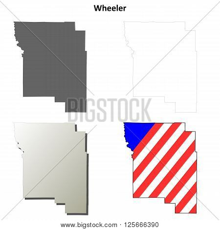 Wheeler County, Oregon blank outline map set