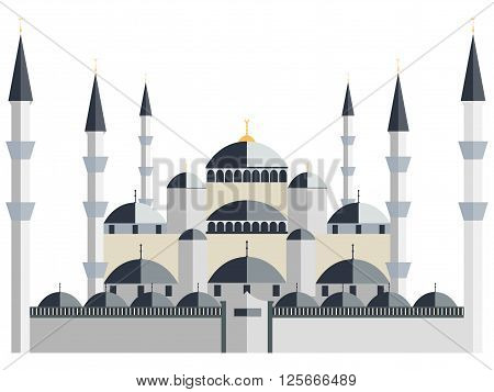 Mosque. Blue Mosque. Historical monument. Vector illustration.
