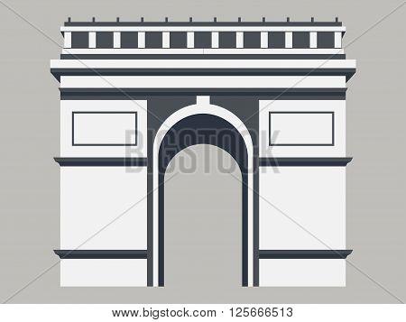 Triumphal Arch. Paris. Historical monument. Vector illustration.