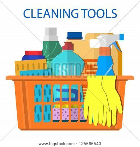 Household cleaning products and accessories in basket with detergent spay and rubber gloves abstract vector illustration in flat design. Cleaning set. MOP, sponge.