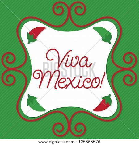 Curly sign Viva Mexico (long live Mexico) card in vector format.
