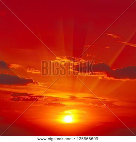 Bright red sunrise in the sky