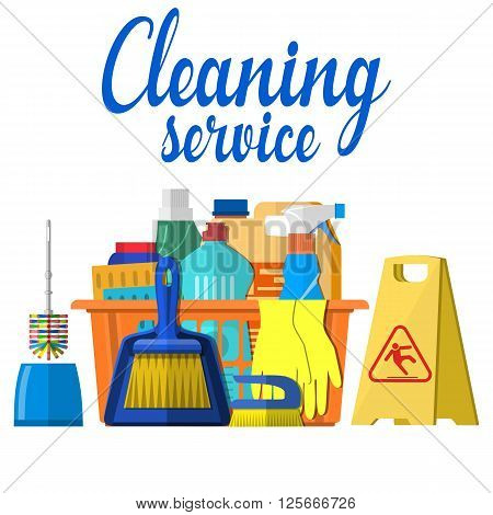Household cleaning products and accessories in basket with detergent spay and rubber gloves abstract vector illustration in flat design. Cleaning set. MOP, sponge,  yellow sign reminder of wet floor .