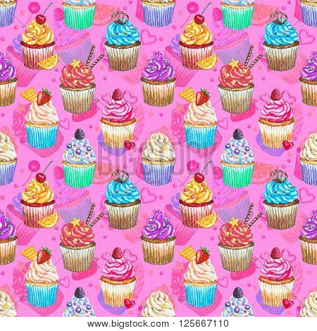 Seamless pattern with watercolor cupcakes. Texture with watercolor cupcakes different type of cupcakes. Hand drawn watercolor cupcake with decoration cream and berries. Sweet tasty food illustration