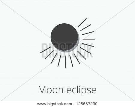 Moon eclipse. Partial lunar eclipse. Vector illustration.