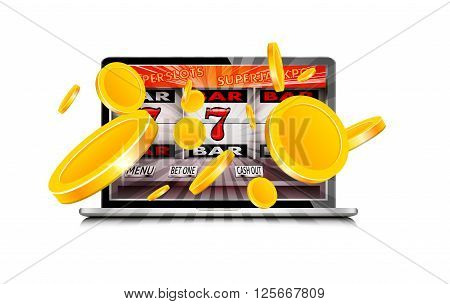 Laptop working as slot machine with gold coins coming out from the screen, 3D rendering