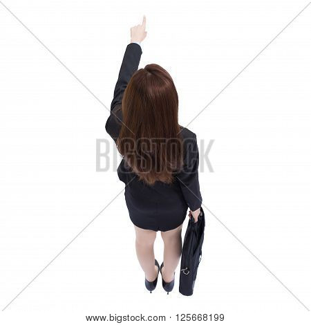Back view of business woman pointing and carry a suitcase high angle view asian beauty