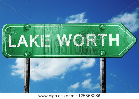 lake worth road sign on a blue sky background