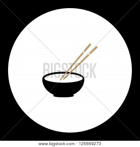 Japan Bowl With Two Wooden Chopsticks Set Eps10