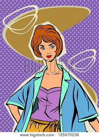 Beautiful girl in a summer retro clothing. Vector portrait of a young woman. Fashionista in the style of the sixties