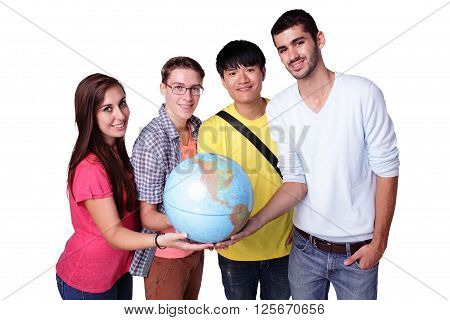 Smile group of happy exchange students with a terrestrial globe isolated on white background caucasian and asian