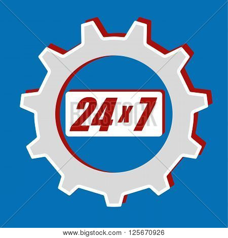 Cog or gear wheel with the numbers 24 x 7 in the middle as a logo for providing a twenty four hour service for seven days a week