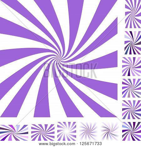 Purple and white vector spiral design background set. Different color, gradient, screen, paper size versions.