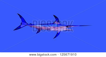 colorful vector illustration of low poly swordfish