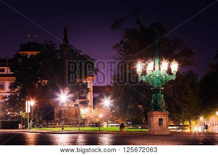 Night view of Hradcanske namesti square in Prague, Czech Republic.