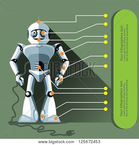 Silver humanoid robot displayed as an infographic with chip elements and a power outlet. Digital background vector illustration.