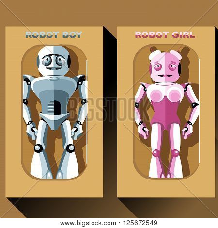 Two silver and pink humanoid robots in boxes male and female. Digital background vector illustration