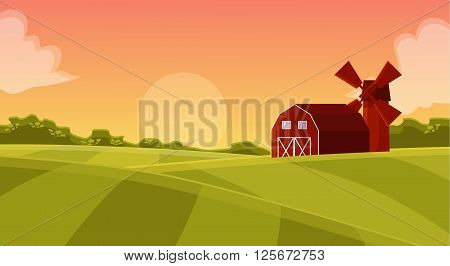 Red hangar at the farmers field to the mill on agricultural land, natural landscape with green field and posevochnym the sunset with a red hangar farm vector cartoon illustration