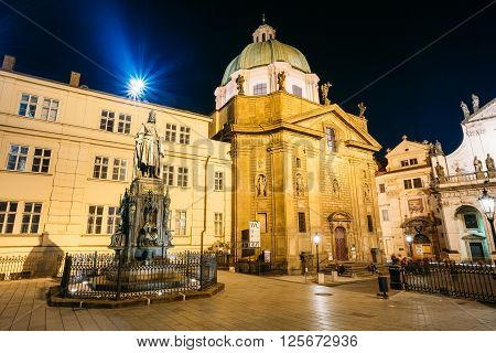 Prague, Czech Republic - October 9, 2014: Night view of Statue Of Czech King Charles Iv In Prague, Czech Republic