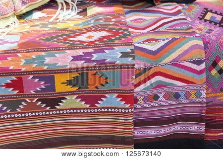 colorful traditional handmade Thailand lanna fabric textile