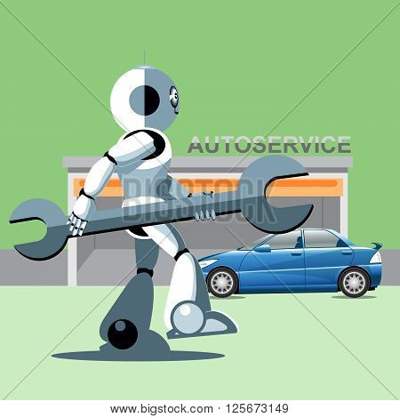 Silver humanoid robot presenting info graphics with tools and cars at auto service. Digital background vector illustration.